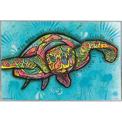 'Turtle' Horizontal Framed Graphic Art Print Poster Format: Silver Metal Framed