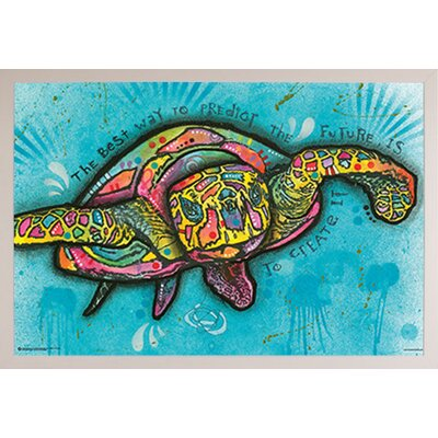 'Turtle' Horizontal Framed Graphic Art Print Poster Format: White Framed