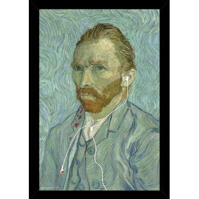 'Van Gogh Headphones' Wood Framed Graphic Art Print Poster