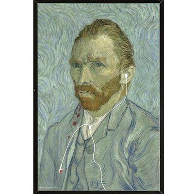 'Van Gogh Headphones' Framed Graphic Art Print Poster