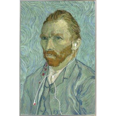 'Van Gogh Headphones' Rectangle Plastic Framed Graphic Art Print Poster