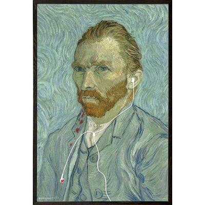 'Van Gogh Headphones' Rectangle Wood Framed Print Poster