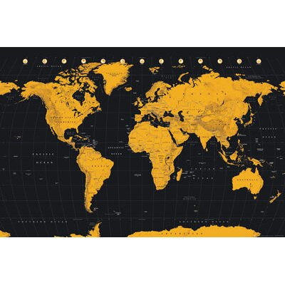 'Wold Map Gold' Graphic Art Print Poster