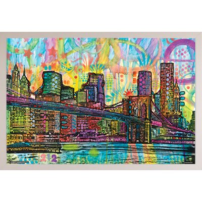 'Brooklyn Bridge' Rectangle Framed Graphic Art Print Poster