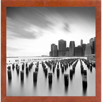 'Mahattan Skyline 2' Photographic Print Format: Affordable Canadian Walnut Medium Framed Paper, Size: 30