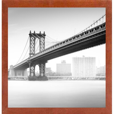'Manhattan Bridge 2' Photographic Print Format: Affordable Red Mahogany Medium Framed Paper