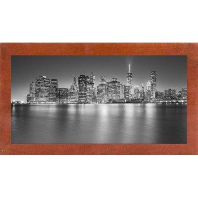 'Manhattan Skyline Night' Photographic Print Format: Affordable Canadian Walnut Medium Framed Paper
