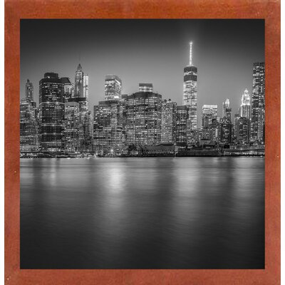 'Manhattan Skyline Night Edit 3' Photographic Print Format: Affordable Canadian Walnut Medium Framed Paper, Size: 30.5