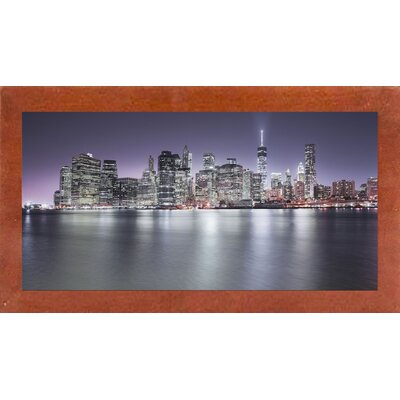 'Manhattan Skyline Night Edit' Photographic Print Format: Affordable Canadian Walnut Medium Framed Paper, Size: 22.5