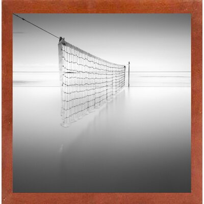 'Net at Pool BW' Photographic Print Format: Affordable Canadian Walnut Medium Framed Paper, Size: 35.4