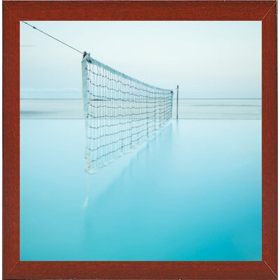 'Net at Pool' Photographic Print Format: Affordable Red Mahogany Medium Framed Paper