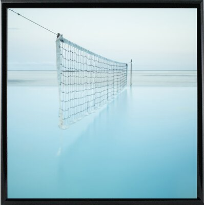 'Net at Pool' Photographic Print Format: Shiny Black Metal Framed Paper