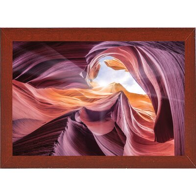 'Antelope Canyon 2 ' Graphic Art Print Format: Affordable Red Mahogany Medium Framed Paper, Size: 28.3