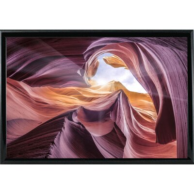 'Antelope Canyon 2 ' Graphic Art Print Format: Shiny Black Metal Framed Paper, Size: 28.3