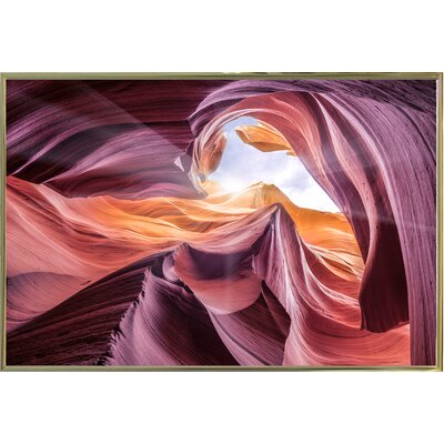'Antelope Canyon 2 ' Graphic Art Print Format: Gold Metal Framed Paper, Size: 28.3