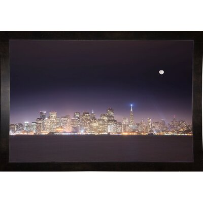 'San Fco And Moon' Photographic Print Format: Affordable Black Medium Framed Paper, Size: 28.3