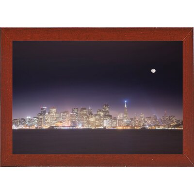 'San Fco And Moon' Photographic Print Format: Affordable Red Mahogany Medium Framed Paper, Size: 28.3