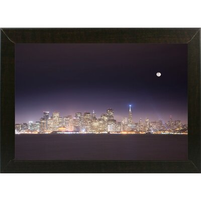 'San Fco And Moon' Photographic Print Format: Affordable Brazilian Walnut Medium Framed Paper, Size: 28.3