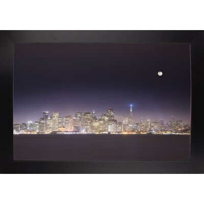 'San Fco And Moon' Photographic Print Format: Affordable Black Large Framed Paper, Size: 28.3