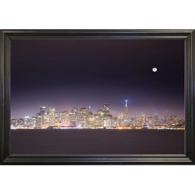 'San Fco And Moon' Photographic Print Format: Black Grande Framed Paper, Size: 28.3