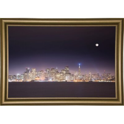 'San Fco And Moon' Photographic Print Format: Bistro Gold Framed Paper, Size: 28.3