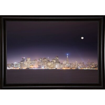 'San Fco And Moon' Photographic Print Format: Bistro Espresso Framed Paper, Size: 28.3