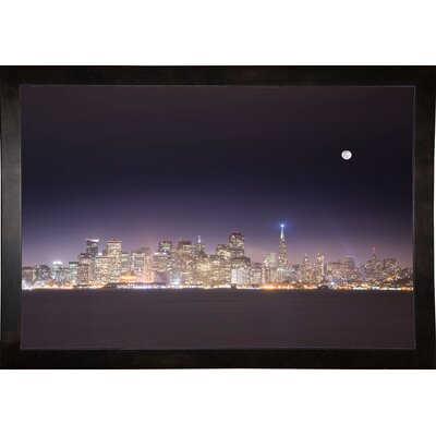 'San Fco And Moon' Photographic Print Format: Cafe Espresso Framed Paper, Size: 28.3