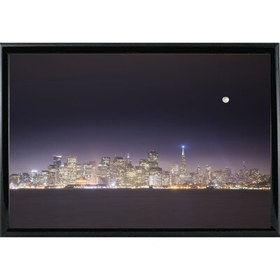 'San Fco And Moon' Photographic Print Format: Shiny Black Metal Framed Paper, Size: 28.3