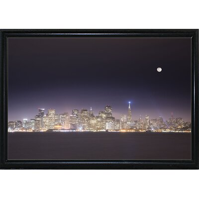 'San Fco And Moon' Photographic Print Format: Flat Back Metal Framed Paper, Size: 28.3