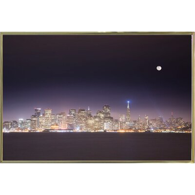 'San Fco And Moon' Photographic Print Format: Gold Metal Framed Paper, Size: 28.3