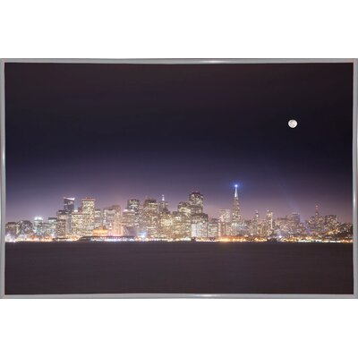 'San Fco And Moon' Photographic Print Format: White Metal Framed Paper, Size: 28.3