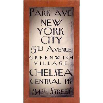 'New York City' Rectangle Textual Art Format: Affordable Canadian Walnut Medium Framed Paper