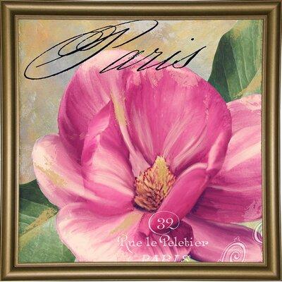 'Ink Magnolia I' Graphic Art Print Format: Bistro Gold Framed