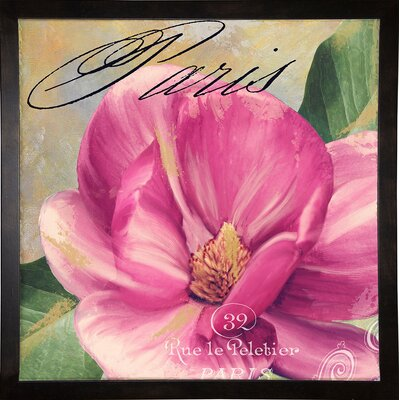 'Ink Magnolia I' Graphic Art Print Format: Cafe Espresso Framed