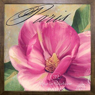 'Ink Magnolia I' Graphic Art Print Format: Cafe Mocha Framed