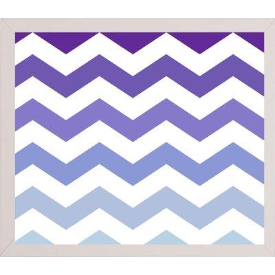'Purple-Blue Chevron' Graphic Art Print Format: White Medium Framed