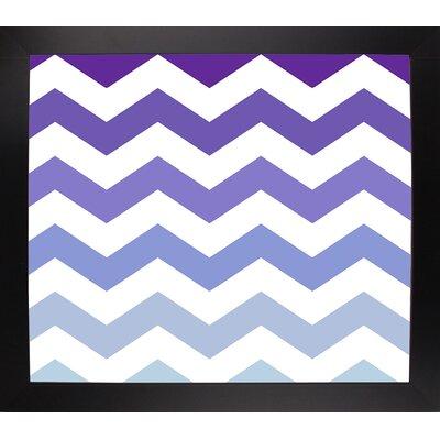 'Purple-Blue Chevron' Graphic Art Print Format: Black Large Framed