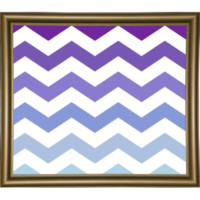 'Purple-Blue Chevron' Graphic Art Print Format: Bistro Gold Framed