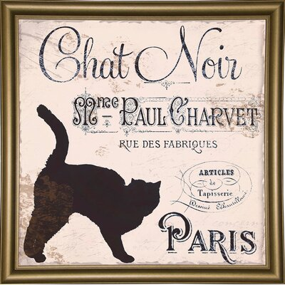 'Les Chats II' Graphic Art Print Format: Bistro Gold Framed