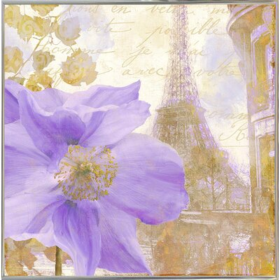 'Purple Paris II' Graphic Art Print Format: Metal Silver Framed