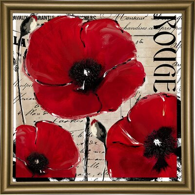 'Rouge Two' Graphic Art Print Format: Bistro Gold Framed