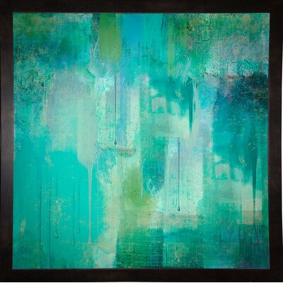 'Aqua Circumstance' Painting Print Format: Black Medium Framed