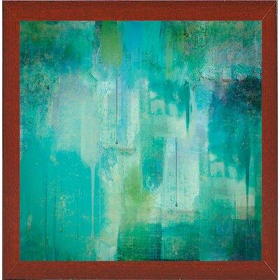 'Aqua Circumstance' Painting Print Format: Red Mahogany Medium Framed