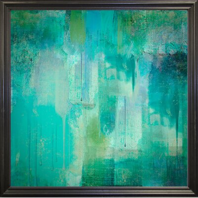 'Aqua Circumstance' Painting Print Format: Black Grande Framed