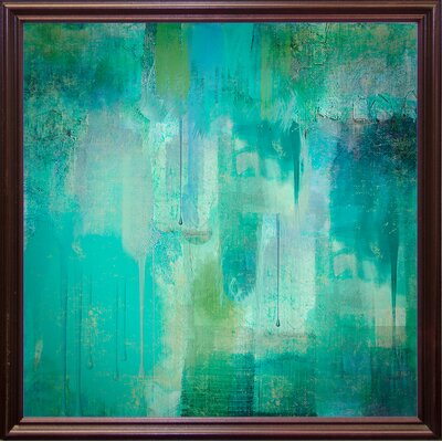 'Aqua Circumstance' Painting Print Format: Cherry Grande Framed