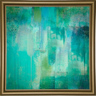 'Aqua Circumstance' Painting Print Format: Bistro Gold Framed