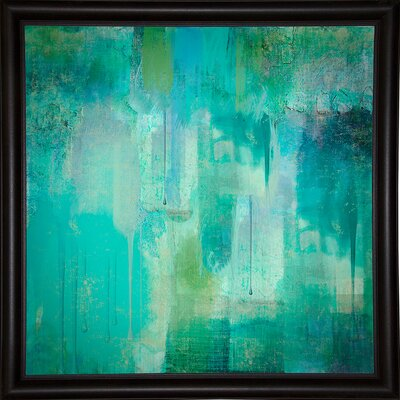 'Aqua Circumstance' Painting Print Format: Bistro Expresso Framed