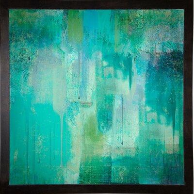 'Aqua Circumstance' Painting Print Format: Cafe Espresso Framed