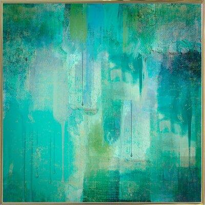 'Aqua Circumstance' Painting Print Format: Metal Gold Framed