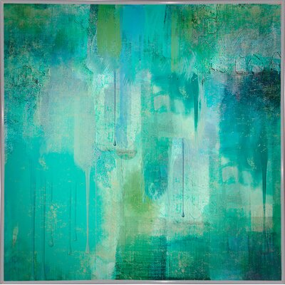 'Aqua Circumstance' Painting Print Format: Metal White Framed